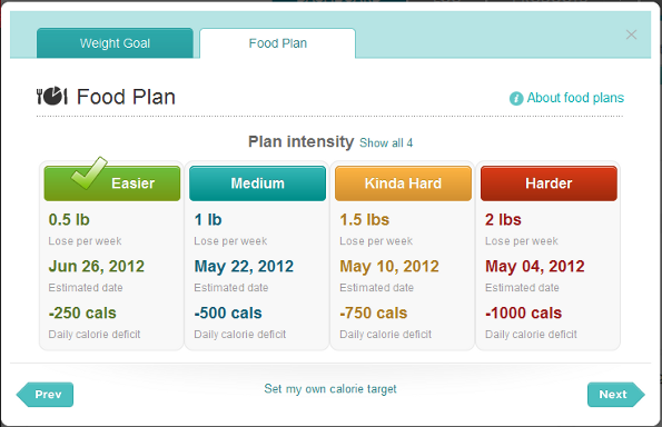 Using the Website: Food Plan